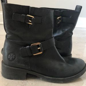 Tory Burch black leather EUC distressed booties!